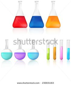 Colorful science chemical substance in chemistry test tube and beaker tool icon set for laboratory experiment in isolated background, create by vector