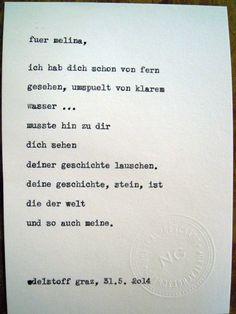Sag mir ein Wort und ich schreib dir ein Gedicht. Wortfachgeschaeft @ Designmesse Edelstoff in Graz. Inspirationswort: Stein