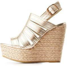 Bamboo Espadrille Wedge Sandals ($30) ❤ liked on Polyvore featuring shoes, sandals, champagne, espadrille wedge sandals, slingback sandals, metallic sandals, espadrille sandals and metallic wedge sandals