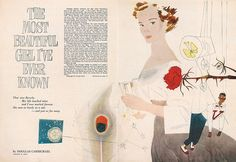 "This illustration won Cahén the 1952 medal for Editorial Illustration from the Art Directors Club of Toronto. It was then exhibited by the Art Directors Club of New York. Illustration for ""The Most Beautiful Girl I've Ever Known,"" 1951, by Douglas Carmichael, Maclean's."