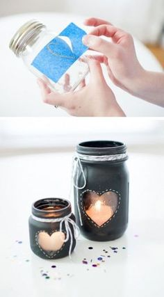 32 DIY Mason Jar Crafts For Your Home - - Obsessed with mason jars? Prepare to fall even more in love with these 32 brilliant DIY mason jar crafts for your home. Chalkboard Mason Jars, Diy Chalkboard, Pot Mason Diy, Mason Jar Gifts, Mason Jar Centerpieces, Mason Jar Candles, Red Mason Jars, Glass Jars, Wedding Centerpieces