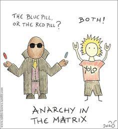20 σκιτσάκια σουρεαλιστικής αναρχίας από τον Λαγό - NEWS247 Anarchy in the Matrix Rabbit Knows The Matrix, Blue Pill, Funny Stories, Anarchy, Funny Shit, Greece, Rabbit, Funny Quotes, Lol