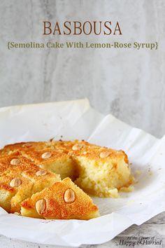 Basbousa {Middle Eastern Semolina Cake With Lemon-Rose Syrup}