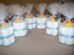 baby shower - mini diaper cakes - cute for baby shower table centerpieces:
