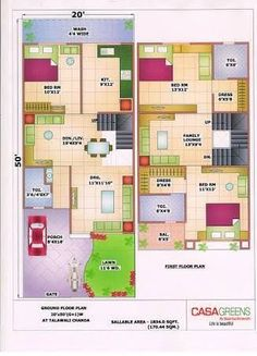 Resultado de imagen para house plan 20 x 50 sq ft 2bhk House Plan, Model House Plan, House Layout Plans, Duplex House Plans, Luxury House Plans, Dream House Plans, Small House Plans, House Layouts, House Floor Plans