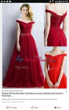 cd83a2c74 Elegant Off the Shoulder Cap Sleeves Bridesmaid Dress in Wine Red
