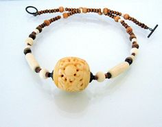 Mens Necklace  Necklace with carved Bone Wood by Jewelsforhealing, $24.00