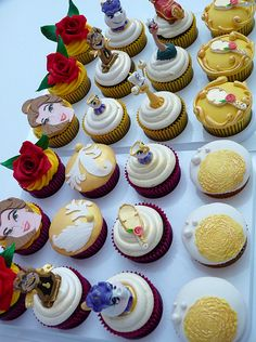 Beauty and the Beast cupcakes! Totally getting something like this for my 25th b-day. :-)