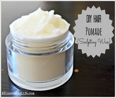 DIY Hair Pomade (Sculpting Wax) Ingredients: 2 Tbs packed beeswax (I grate my beeswax and pack it in measuring spoon) 2 Tbs + 2 tsp of olive or canola oil (coconut oil might work too) 2 Tbs vegetable glycerin Essential oils (optional)