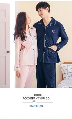 2019 Spring Mens Home Wear Clothing 2 Pcs Fashion Sleepwear Solid Match Couples Sleep Set