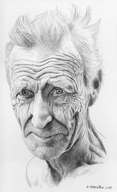 Old man. Sketch made with graphite pencil on paper.