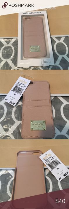 Michael Kors pink wallet iPhone 6 Plus cover Michael Kors iPhone 6 Plus cover with wallet on back for cards. It's pink and the material is leather. Brand new with box and tag. Michael Kors Accessories Phone Cases
