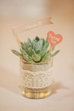DIY Wedding Plant Favors are Perfect for a Green Wedding Potted succulent wedding favor with flag as Wedding Plants, Succulent Wedding Favors, Diy Wedding Favors, Bridal Shower Favors, Party Favors, Wedding Gifts, Wedding Decorations, Wedding Souvenir, Wedding Centerpieces