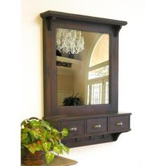 Bombay Brown Wall Mirror with Drawers and Hooks   Overstock™ Shopping - Great Deals on Mirrors