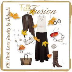 """Fall Fusion"" by giles1775 on Polyvore  Gold and silver come together in these breath-taking pieces! Fusion and Front Row necklaces showcase interlocking circles of rhodium silver, and golden circles. Finishing touches are the Notorious bracelet, ring and earring - these pieces use a frame of golden caviar dots to add a designer touch.  If you like this combo please find and LIKE my page on Facebook: Park Lane Jewelry by Delinda"