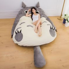 sofa button on sale at reasonable prices, buy Manufacturer Large Size Anime Cartoon Totoro Bed Design Soft Mattress Kid Giant Big Gift Cushion Lazy Sofa Mat Tatami Plush Toys from mobile site on Aliexpress Now!Good design concept to mock up new patte Bean Bag Bed, Bean Bag Chair, Japanese Mattress, Cute Pillows, Mattress Pad, Bed Design, Home Textile, Bedroom Decor, Big Gift