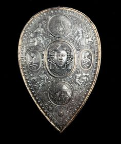 Shield for Francesco I de' Medici, c1570 - a chased morion and shield, now kept in Dresden, attributed to Benvenuto Cellini. In the centre of the shield the head of Medusa can be seen, while the two ovals show the portrayal of Francesco de' Medici and his lover and future wife Bianca Cappello.