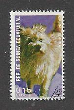 Dog Art Full Body Portrait Postage Stamp CAIRN TERRIER Equatoria Guinea CTO
