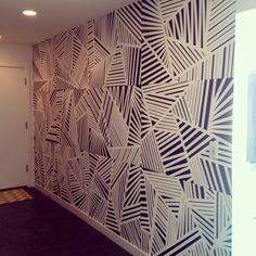 Mudroom mural. Black and white.