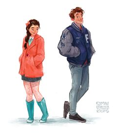 """siminiblocker: """" Lara Jean and Peter K* You should read To All the Boys I've Loved Before by Jenny Han. It is delightful. And then you should read the sequel- also delightful! *I looked back at the text after drawing this and Pete doesn't actually..."""