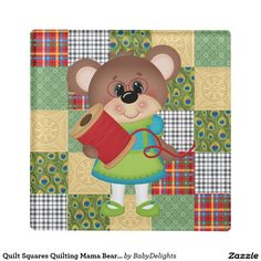 Keep your table protected with Quilt coasters from Zazzle! Discover an amazing range of designs for any occasion or personalize with your own photos and text. Glass Coasters, Square Quilt, Squares, Quilting, Vibrant, Kids Rugs, Bear, Prints, Design