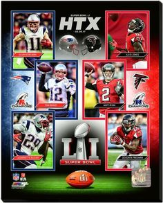 Super Bowl LI Match-Up Montage -16x20 Photo on Stretched Canvas