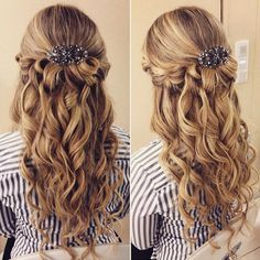 curly wedding half up hairstyle