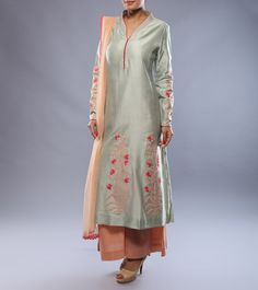 #Baby #Blue & #Blush Embroidered #Chanderi #Kurta & #Pallazo Set by #Anju #Modi at #Indianroots