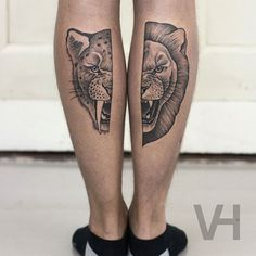 Dot style tattoo painted by Valentin Hirsch of split lion and ancient cat