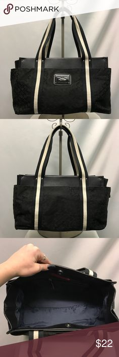 TOMMY HILFIGER handbag Black cloth Tommy Hilfiger handbag with stripped straps. This bag is crazy spacious inside and has one zipper pocket. Tommy Hilfiger Bags