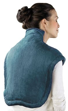 This is the heated wrap designed to simultaneously soothe sore muscles in the neck and shoulders. Unlike typical rectangular heating pads that do not provide ideal coverage or contact, this wrap—available exclusively from Hammacher Schlemmer—features slightly weighted edges and a magnetic closure that provide a custom fit around the neck, shoulders, and upper back.