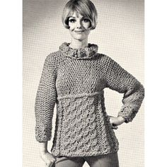 Knit Roll Neck Cable Panel Pullover PDF Pattern  what a hunky, chunky delight - knitted with large needles. The empire waist top has a roll collar and the skirt features bold cable. Oh, don't let me forget to mention the long loose fitting sleeves and below hip length.