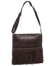 8468b6f7990d Leather Fringe Hobo Handbag - Brown - CO11G69TD5J