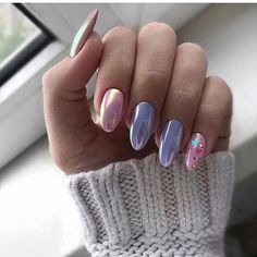 There are many options for nail style, but have you tried chrome nails? Chrome nails are a type of nail that has become popular in recent years, and it will only become more and more popular. Nail Designs Spring, Cool Nail Designs, Cute Acrylic Nails, Cute Nails, Hair And Nails, My Nails, Chrome Nails, Rhinestone Nails, Types Of Nails