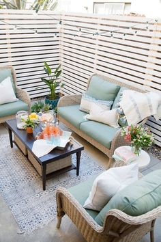 Budget patio makeover - tell love and partytell love and party inexpensive patio Budget Patio, Small Outdoor Patios, Outdoor Living, Outdoor Decor, Backyard Privacy, Backyard Patio, Backyard Ideas, Outdoor Privacy, Private Patio Ideas