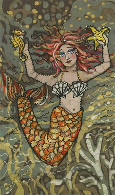 "Janet Searfoss batik print- ""Red Siren"""