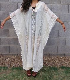 Vintage boho hippie cream lace crochet caftan by THEHIPPIEGYPSYVTG, $155.00