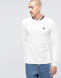 d0e4767b1 Fila Vintage Long Sleeve Polo Shirt With Retro Collar at asos.com
