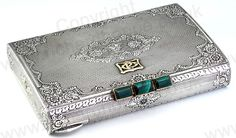 ANTIQUE c.1920s 800 SILVER MAKE UP COMPACT VANITY CASE BOX WITH 18 CARAT GOLD MALACHITE MOUNTS. This item is sold, to visit my website to see what's in stock click here: http://www.richardhoppe.co.uk or for help or information email us here: info@richardhoppe.co.uk