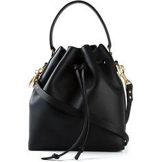 Sophie Hulme drawstring bucket bag (€965) ❤ liked on Polyvore featuring bags, handbags, shoulder bags, bolsas, black leather handbags, leather drawstring handbags, leather bucket bag, black handbags y leather handbags
