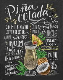 Lily and Val Piña-Colada Recipe Poster at Posterlounge ✔ Free delivery ✔ Free … – Photos + - My CMS Cocktail Drinks, Alcoholic Drinks, Beverages, Party Drinks, Lily And Val, Deco Restaurant, Pineapple Rum, Posters Vintage, Cocktail Recipes