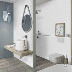 big bathroom A flat, rectified truly white satin tile, perfect for creating a brighter space with a soft touch finish. Bathroom Fixtures, Bathroom Renovations, Bathroom Inspiration, Bathroom Wall Lights, Big Bathrooms, Small Bathroom, Round Mirror Bathroom, Tile Bathroom, Bathroom Decor