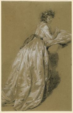 Standing woman in a white satin, or silk dress is seen from behind. She looks to the right and leans her elbows on cushion. The emphasis is on the depiction of the material from which the dress is made.