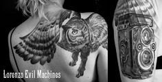 Owl and Rolleiflex  Realistic Tattoo by Lorenzo Evil Machines, Roma - Italia