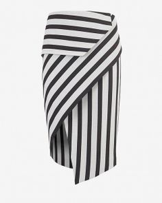 Mason by Michelle Mason Asymmetric Wrap Stripe Skirt: A piece that transitions easily between seasons-- the asymmetric wrap skirt. Stripe Skirt, Striped Dress, Diy Mode, Moda Chic, Asymmetrical Skirt, Skirt Pants, Fashion Design, Style, Seasons