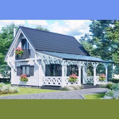 Drewniany domek letniskowy Alicja III 62 + 21 m2 Bungalow House Plans, Small House Plans, House Floor Plans, Cabin Homes, Cottage Homes, Design Your Dream House, House Design, Casas Shabby Chic, Small Balcony Design