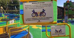 El Ayuntamiento coloca carteles en italiano en los columpios para niños con discapacidad