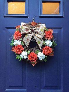 Fall flower burlap wreath