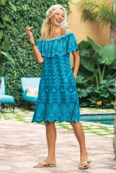 Senorita Dress : Worn off the shoulder or not, this scalloped, ruffled and embroidered dress has fiesta woven right into it. In lightweight crinkle cotton voile, with eyelet accents and on-seam pockets. Available in all regular and plus sizes. Next Dresses, Blue Dresses, Short Sleeve Dresses, Summer Dresses, Loose Dresses, Summer Outfit, Dresses With Sleeves, Gauze Dress, Eyelet Dress
