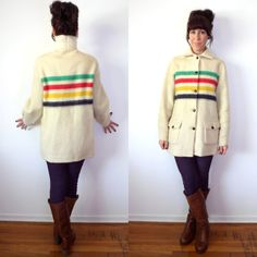 Vintage Hudson Bay Wool Stripe Shirt Jacket Point Blanket Coat